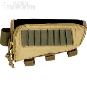 HUNTER STOCKPACK - TAN - Tactical Sharpshooter Rifle Stock Pack buttstock ammo holder padded cheek rest zippered utility ammo pouch