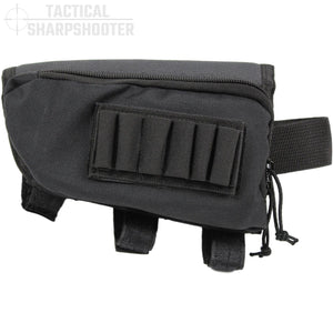 SNIPER STOCKPACK - BLACK - LEFT HAND - Tactical Sharpshooter Rifle Stock Pack buttstock ammo holder padded cheek rest zippered utility ammo pouch