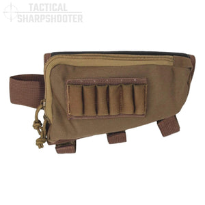SNIPER STOCKPACK - COYOTE - Tactical Sharpshooter Rifle Stock Pack buttstock ammo holder padded cheek rest zippered utility ammo pouch