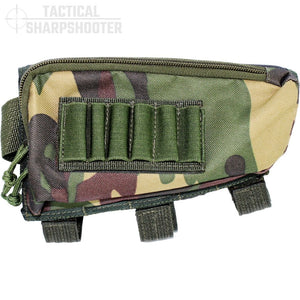 SNIPER STOCKPACK - DARK WOODLAND CAMO - Tactical Sharpshooter Rifle Stock Pack buttstock ammo holder padded cheek rest zippered utility ammo pouch