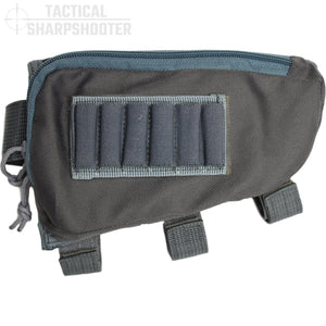 SNIPER STOCKPACK - GRAY - Tactical Sharpshooter Rifle Stock Pack buttstock ammo holder padded cheek rest zippered utility ammo pouch