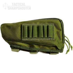 SNIPER STOCKPACK - GREEN - LEFT HAND - Tactical Sharpshooter Rifle Stock Pack buttstock ammo holder padded cheek rest zippered utility ammo pouch