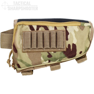 SNIPER STOCKPACK - MULTICAM - LEFT HAND - Tactical Sharpshooter Rifle Stock Pack buttstock ammo holder padded cheek rest zippered utility ammo pouch