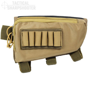 SNIPER STOCKPACK - TAN - Tactical Sharpshooter Rifle Stock Pack buttstock ammo holder padded cheek rest zippered utility ammo pouch