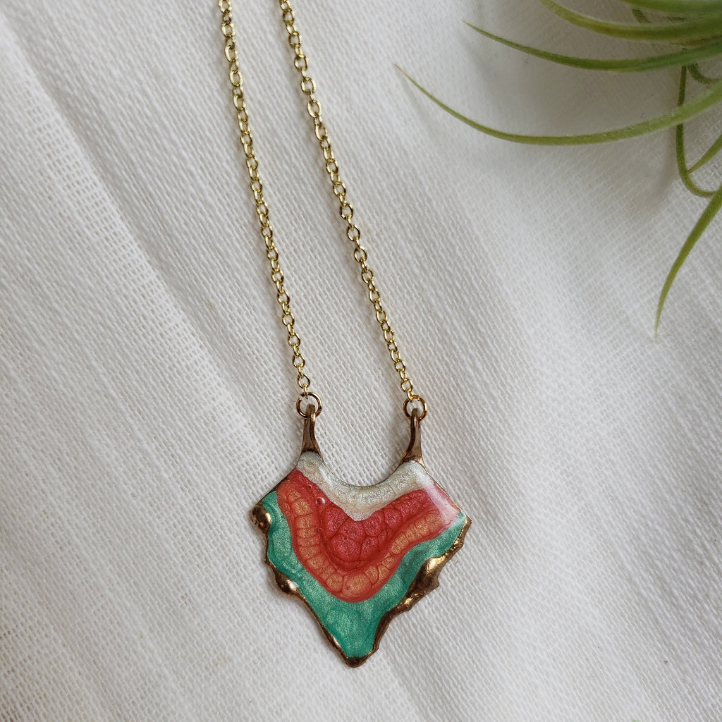 SALE- Reticulated Necklace - Emerald/Salmon