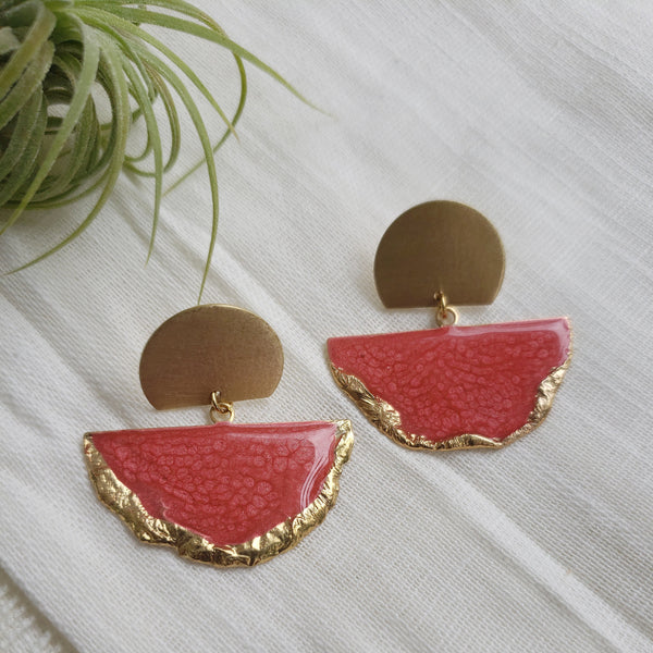 SALE-Red Fan Stud Statement Earring
