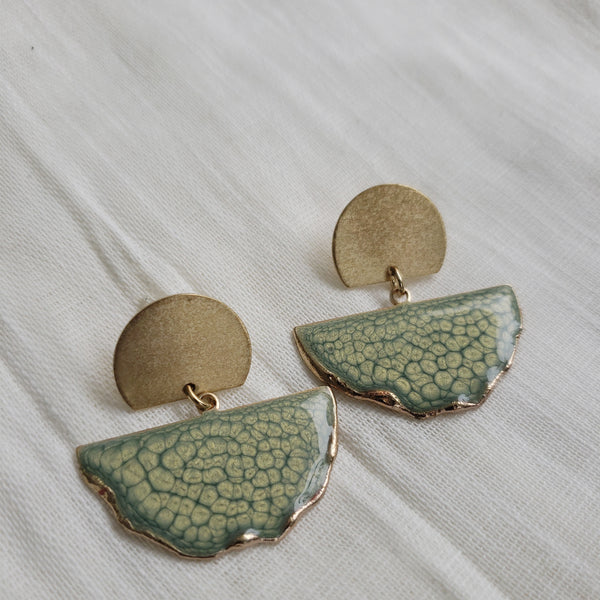 SALE-Pearl Green Fan Stud Statement Earring