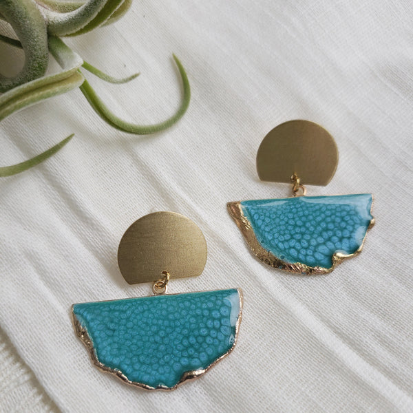 SALE-Caribbean Blue Fan Stud Statement Earring