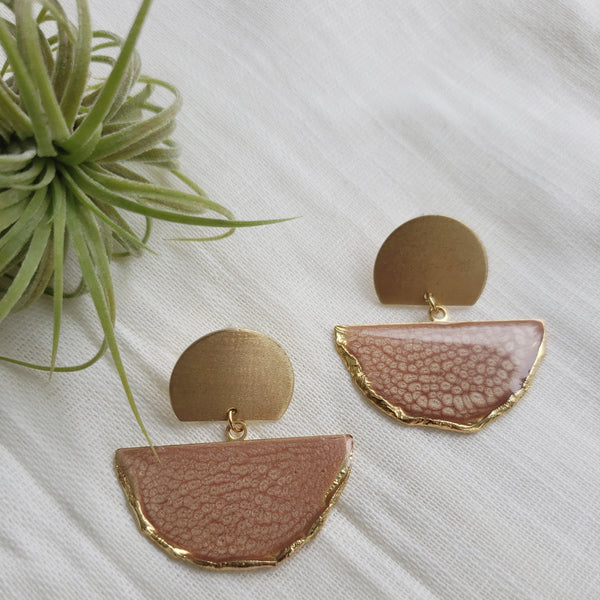 SALE-Cinnamon Fan Stud Statement Earring