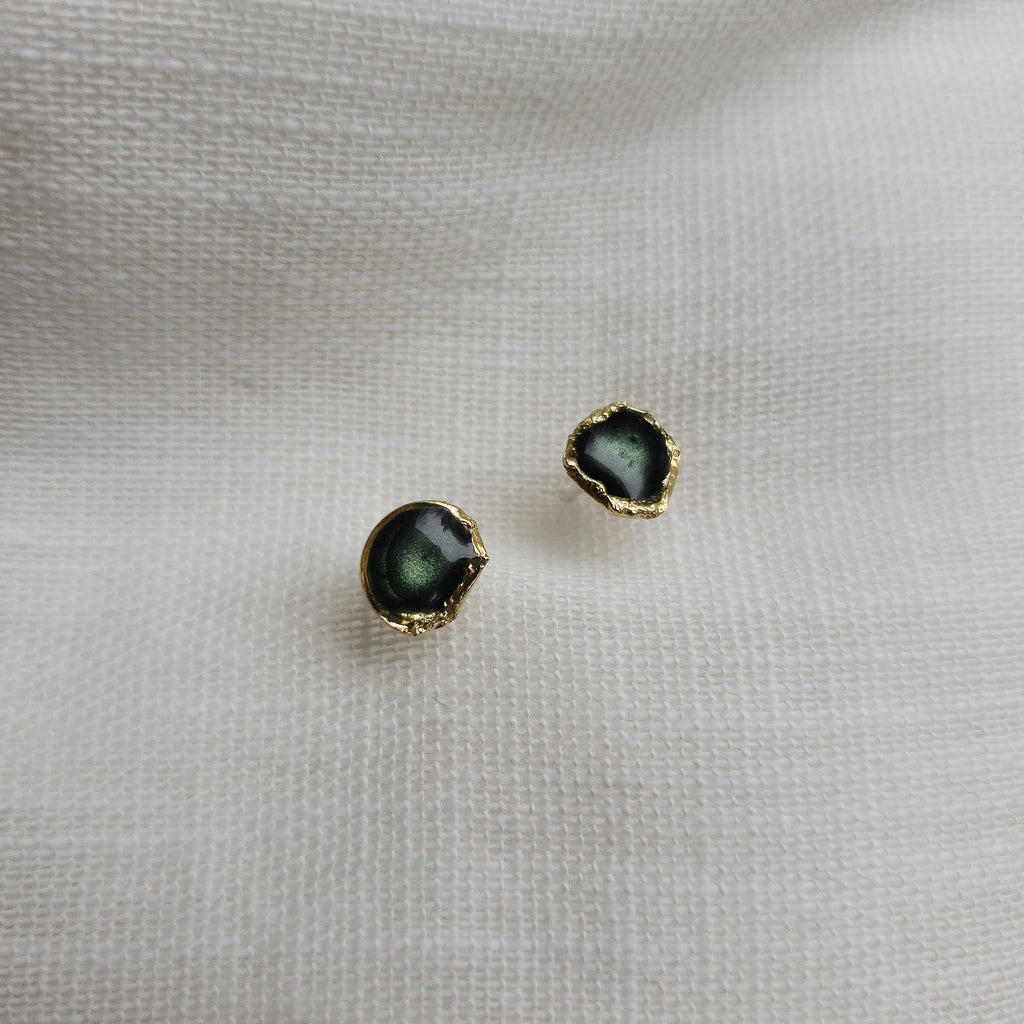 Reticulated Enamel Studs - Forest