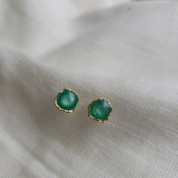 Reticulated Enamel Studs - Emerald