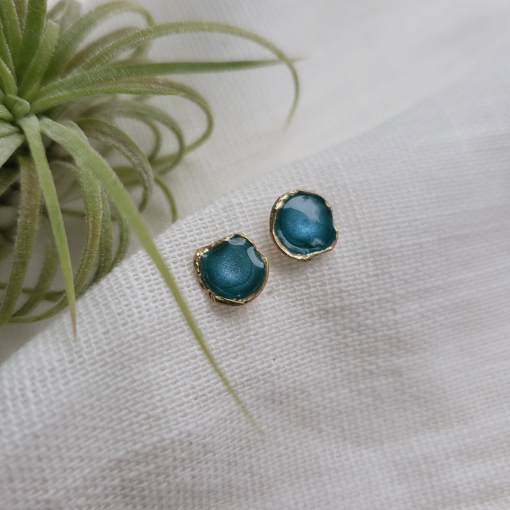 Reticulated Enamel Studs - Turquoise