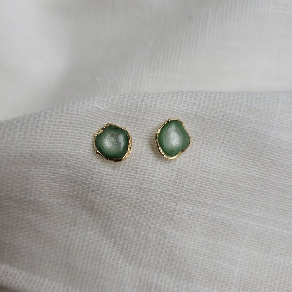 Reticulated Enamel Studs - Mint