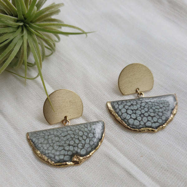 SALE-Moonstone Fan Stud Statement Earring