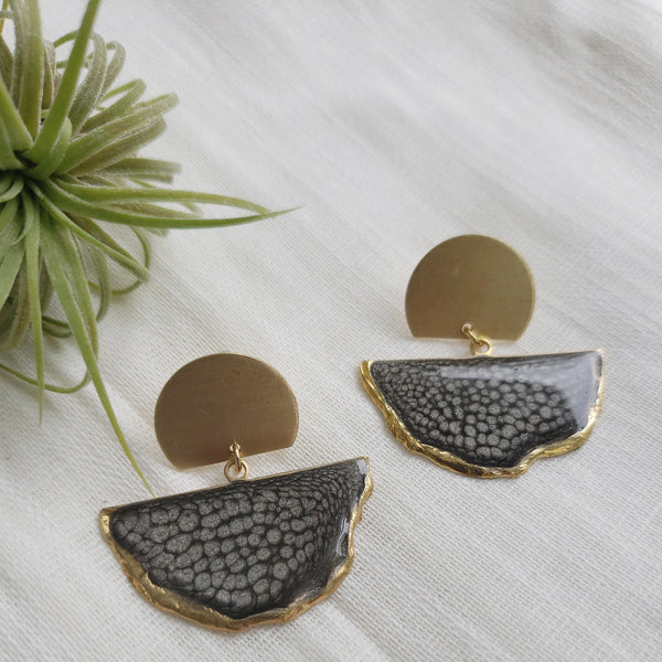 SALE-Onyx Fan Stud Statement Earring