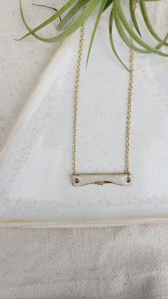 Mini Enamel Bar Necklace-Ivory