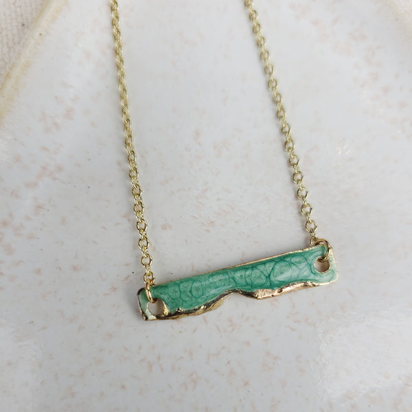 Mini Enamel Bar Necklace-Emerald