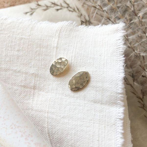 Hammered Oval Studs with Sterling Posts