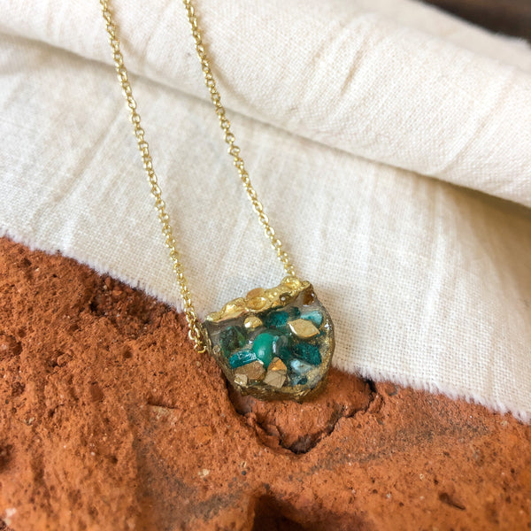 Brass and Turquoise Fan Necklace