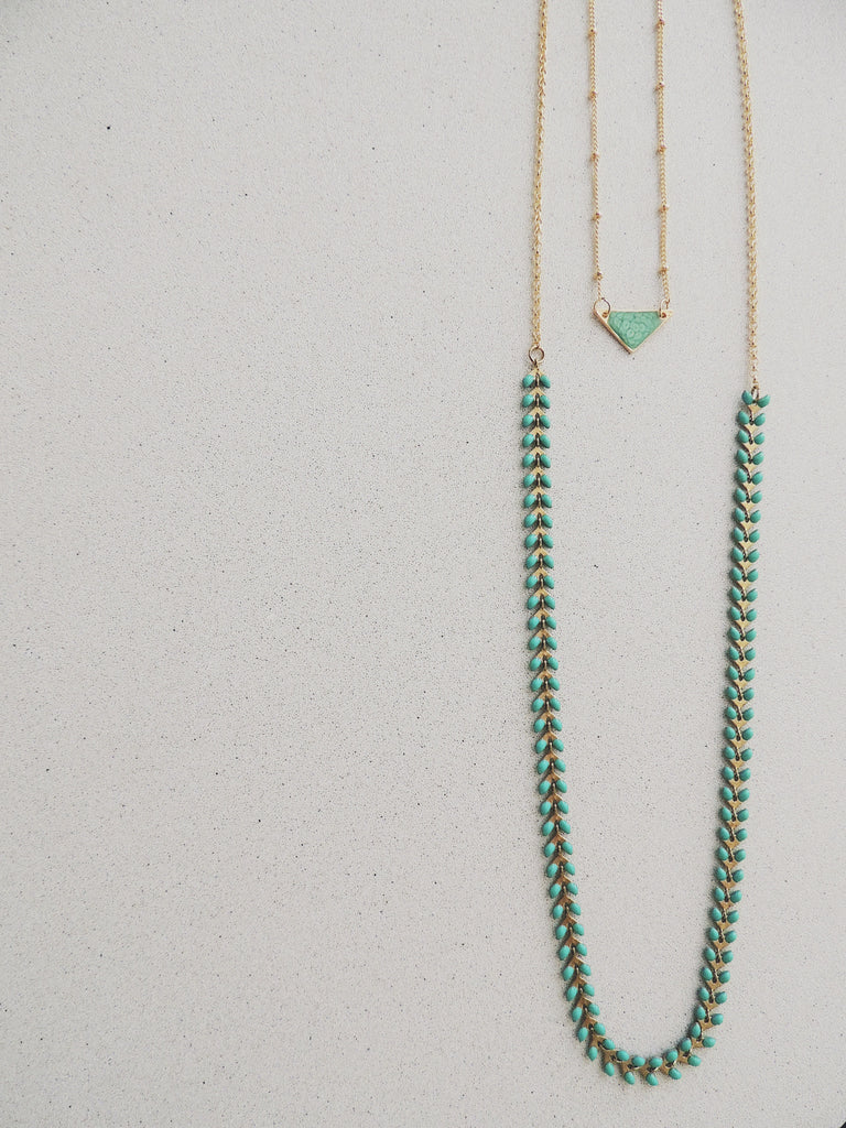 Long Fishbone Multifunctional Necklace-Emerald