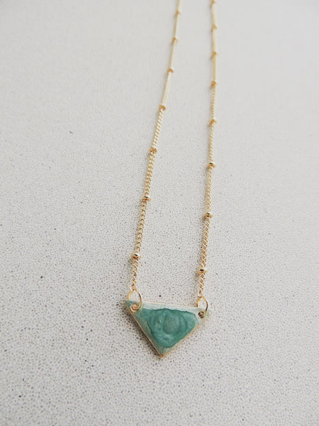 Reversible Mini Triangle Necklace-Mint
