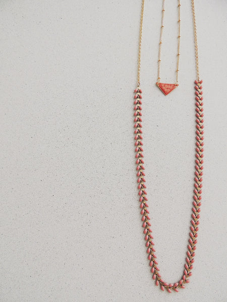 Long Fishbone Multifunctional Necklace-Salmon