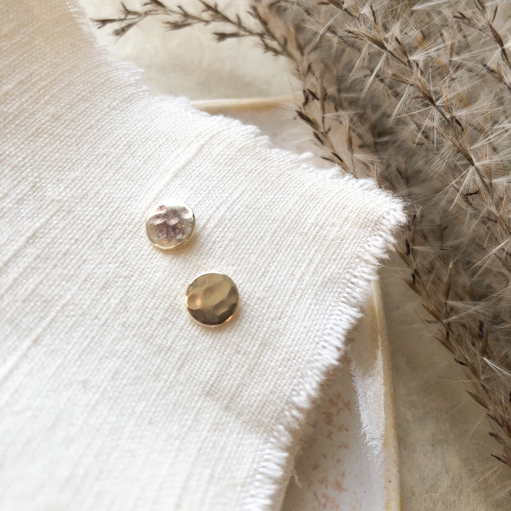 Hammered Circle Studs with Sterling Posts