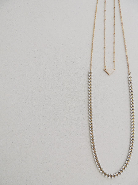 Long Fishbone Multifunctional Necklace-Pearl