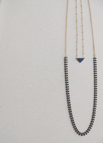 Long Fishbone Multifunctional Necklace-Sapphire