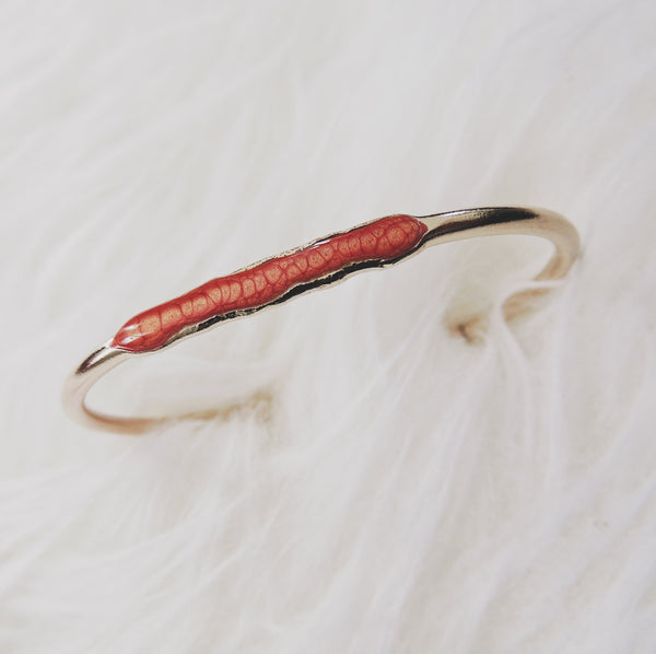 Reticulated Enamel ID Bracelet-Salmon