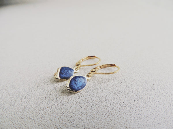 Reticulated Leaf Drop Earrings-Sapphire