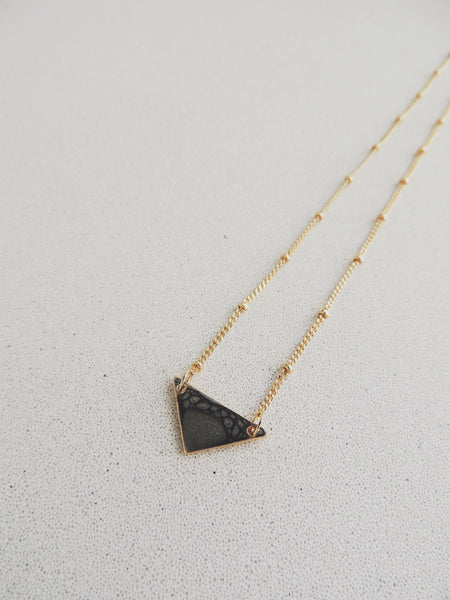 Reversible Mini Triangle Necklace-Onyx