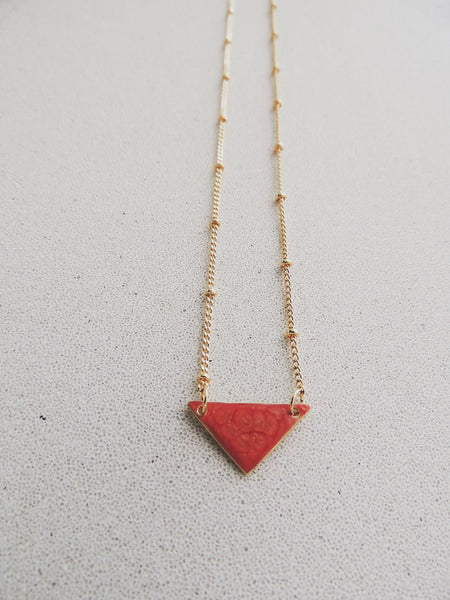 Reversible Mini Triangle Necklace-Salmon