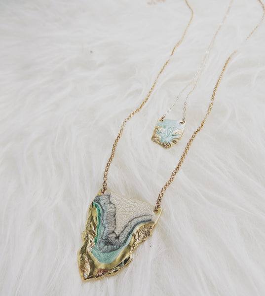 Multi Reticulated Necklace- Mint