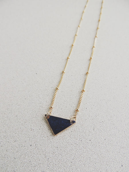 Reversible Mini Triangle Necklace-Sapphire