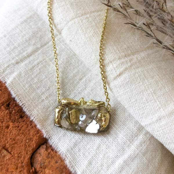 Brass and Pearl Rectangle Necklace