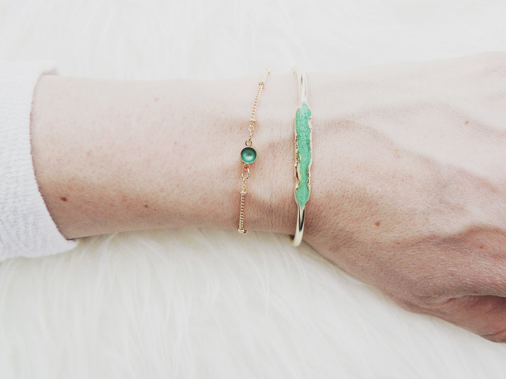 Reticulated Enamel ID Bracelet-Emerald