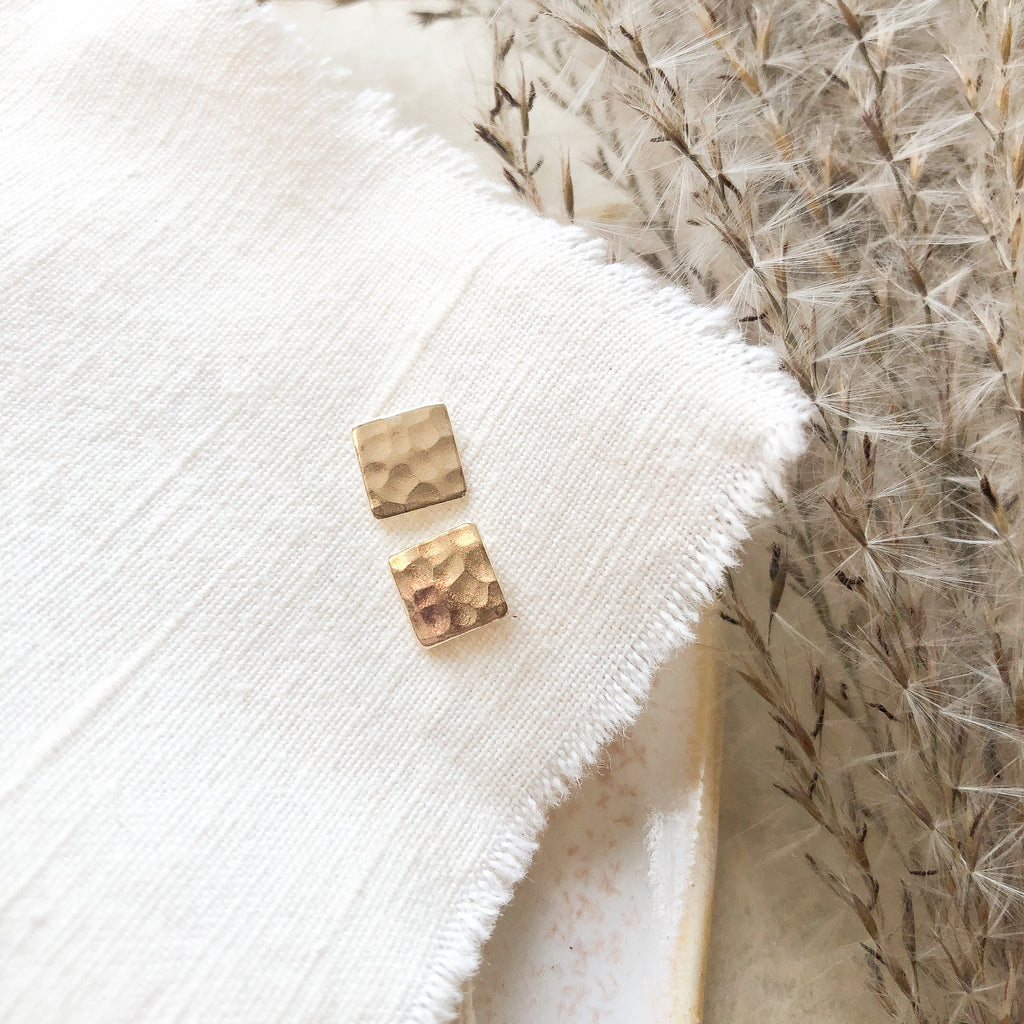 Hammered Square Studs with Sterling Posts