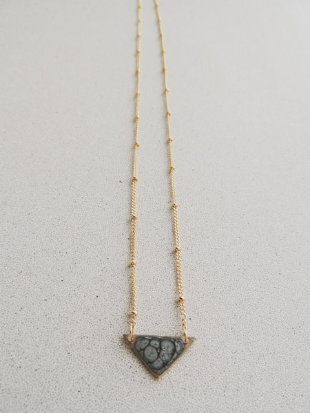 Reversible Mini Triangle Necklace-Moonstone
