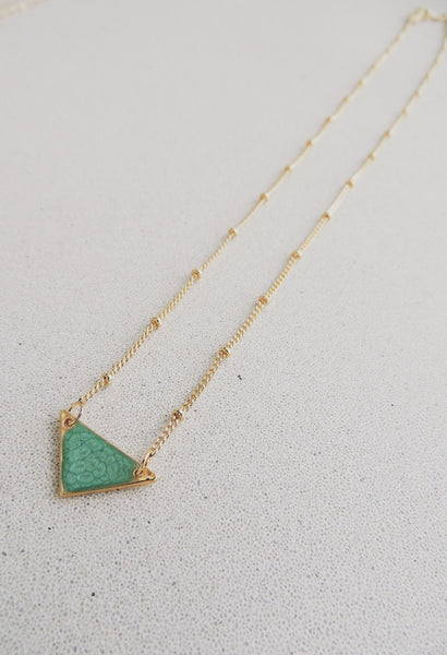 Reversible Mini Triangle Necklace-Emerald