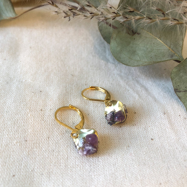 Brass and Amethyst Cluster Drop Earrings