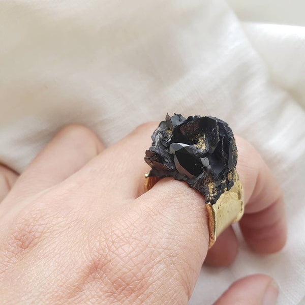 One of a kind Black Spinel Ring