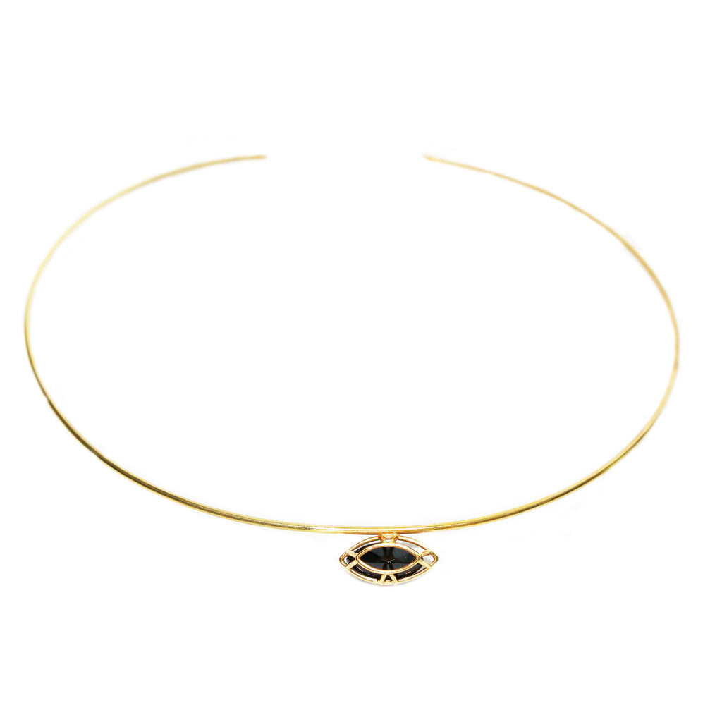 Marquise Cut Black Spinel Collar