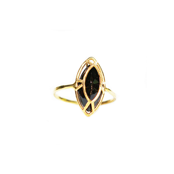 Marquise Cut Black Spinel Ring