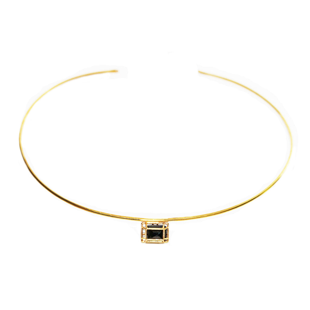 Emerald Cut Black Spinel Collar Necklace
