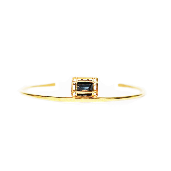 Emerald Cut Black Spinel Cuff