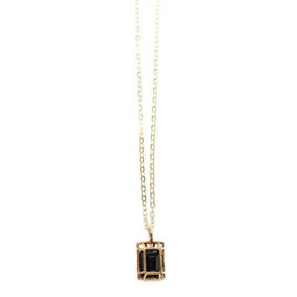 Emerald Cut Black Spinel Pendant