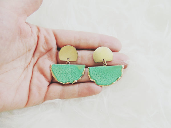 Emerald Fan Stud Statement Earring