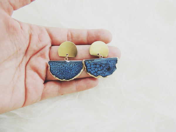 SALE-Sapphire Fan Stud Statement Earring