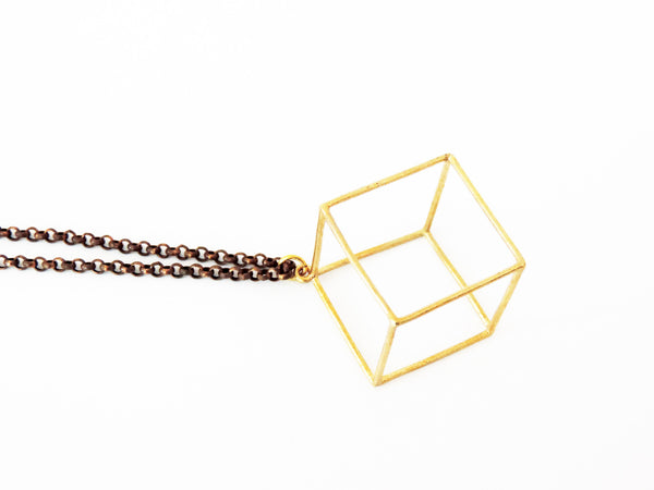 Geometric 3D Cube Necklace